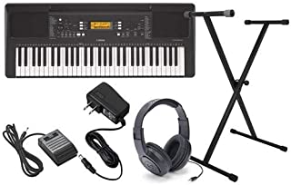 Yamaha PSR-E363 Keyboard Package with Headphones,Stand,Sustain Pedal,and Power Supply