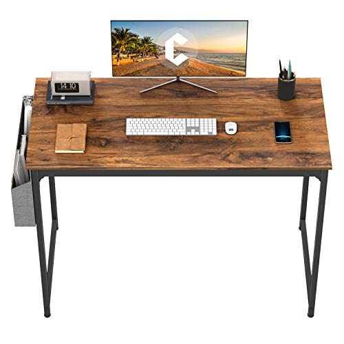 CubiCubi Computer Desk 40' Study Writing Table for Home Office, Modern Simple Style PC Desk, Black Metal Frame, Dark Rustic