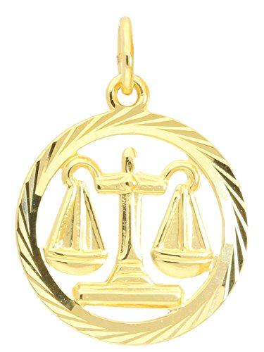 MyGold sterrenbeeld hanger weegschaal (zonder ketting) geel goud 333 goud (8 karaat) gediamanteerd binnen open Ø 15 mm rond dierenriemteken horoscoop gouden hanger Gavno A-04433-G302-Waa