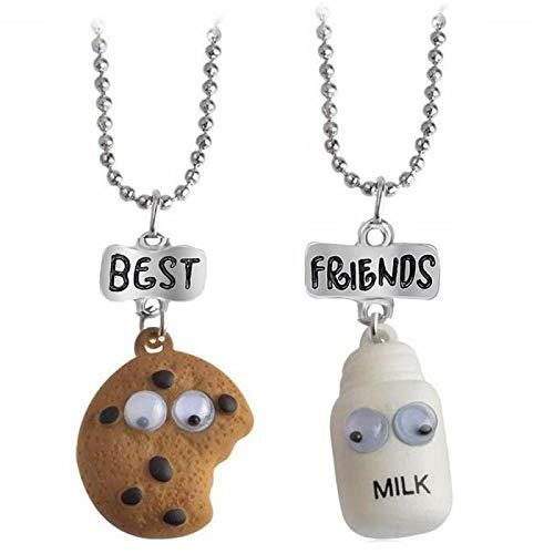guodong 2 Stück/Set Mini Oreo Kekse und Kaffee Anhänger Halskette Bester Freund Kekse Milch BFF Geschenk Essen Freundschaft Schmuck