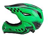 ROCKBROS Casco Integral para Ciclismo BMX Infantil Desmontable Ajustable Protección con 12 Agujeros Anti-Golpes Tamaño 48-58 cm para Niños y Niñas (Verde-S)