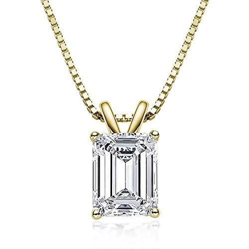 925 Sterling Silver Emerald Cut Creó diamantes moissanite gemstone colgante collar compromiso joyería fina