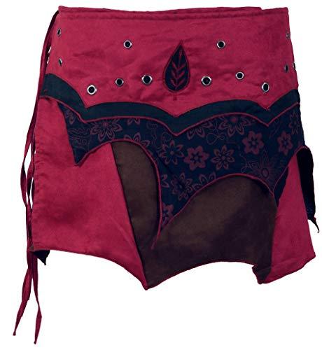 Guru-Shop Elfen Wickelrock, Goa Minirock, Cacheur, Damen, Bordeauxrot, Baumwolle, Size:S/M (38), Röcke/Kurz Alternative Bekleidung
