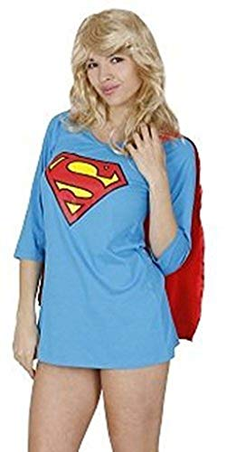 TV Store Dc Comics Superman Juniors vestido de noche azul vestido de pijama con capa roja ajustable (tallas grandes)
