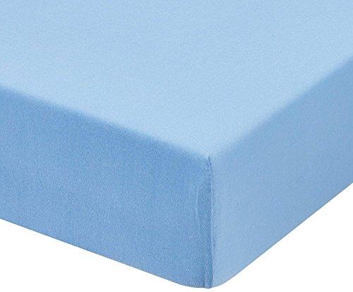 Tiendadeleggings (150 Azul) Sabana Bajera Ajustable, Elastica 100% algodón de Verano. Cama 150 x 200 cm + 25 cm. Fácil Lavado, Planchado y Duradera. (Azul)