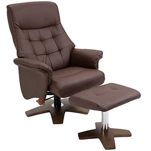 HOMCOM Relaxsessel mit Hocker Fernsehsessel Polstersessel 360° drehbar 135° neigbar Chesterfield PU-Bezug Braun Holz 90 x 76 x 103 cm