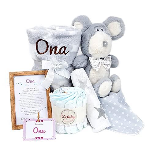 My Mouse de Mababy - Canastilla Recién Nacido Personalizada - Cesta de Regalo para Bebé - Cesta Regalo Recién nacido - Regalo Babyshower - Cesta Bebé Personalizada (Gris)