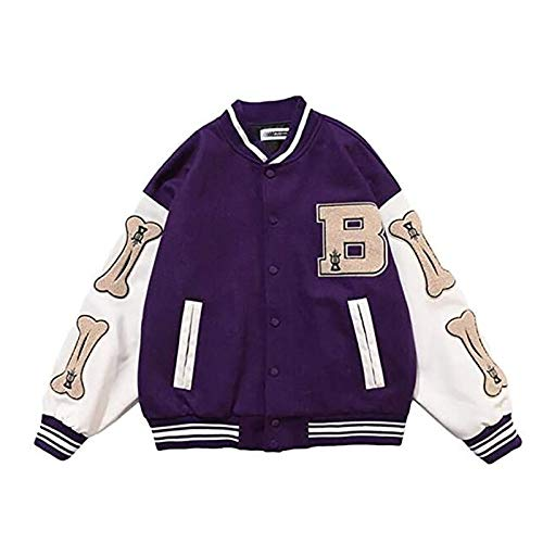 N\C Chaqueta De Béisbol Chaqueta Universitaria Unisex Chaqueta Universitaria Chaqueta Deportiva Vintage Unisex Moda Streetwear (Color : Purple, Size : XX-Large)