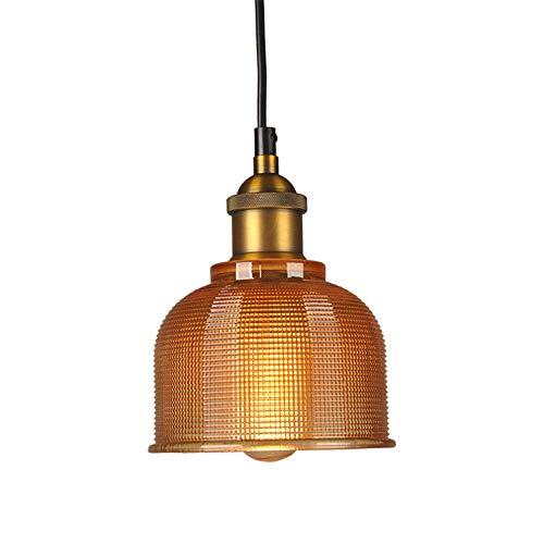 BAIHAO Lampadario in Vetro colorato retrò Semplice a Testa Singola E27 Lampada a Sospensione Industriale Vintage per Sala da Pranzo Lampada a Sospensione Illuminazione (Senza Lampadina)