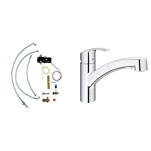 GROHE Eurosmart | Küche - Küchenarmatur mit Umrüstset | Upgrade Set zu FootControl, mit herausziehbarer Dual-Spülbrause, chrom | 30305000