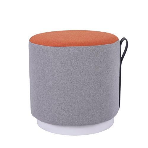 Sunon Fabric Round Ottoman Padded Mordern Footstool for Bedroom,Living Room, Orange