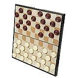 KMNN Damas Plegables - Tablero de ajedrez portátil para niños - 100 fichas magnéticas - Juegos Entre Padres e Hijos - Tablero de competición - Blanco y Negro