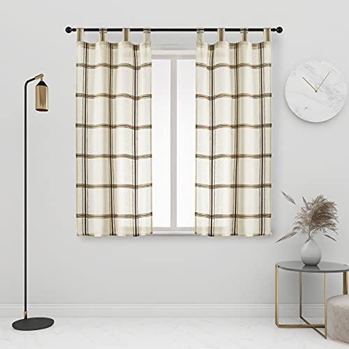 GIRASOLE Par de cortinas semitransparentes, diseño de cuadros, cortina para salón y...