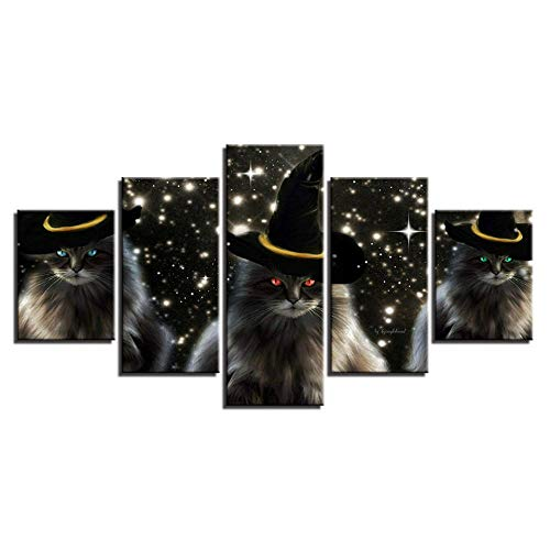 axqisqx canvasdruk afbeeldingen Home muurkunst decoratie moderne woonkamer 5 stuks een dier katten met een hoed Hd Prints Poster