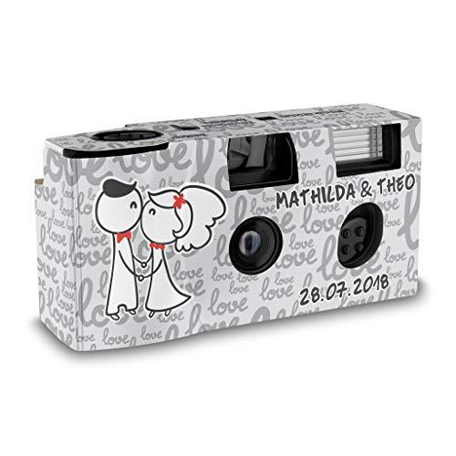 Hochzeitskamera Einwegkamera Love and Kiss mit Personalisierung, ISO 400, 27 Aufnahmen, Blitz
