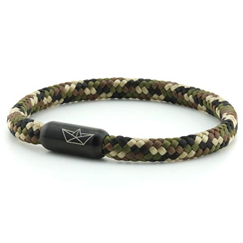 Paper-Ship Atlantis No. 509 Bracelet 5 mm Sailing Rope in Camouflage with Magnetic Clasp in Black camouflage