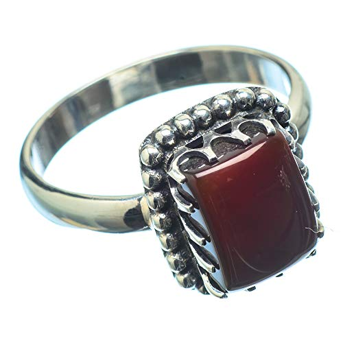 Ana Silver Co Red Onyx Ring Size O (925 Sterling Silver)