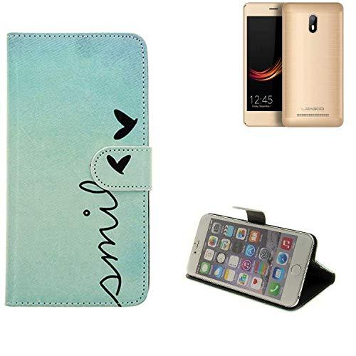K-S-Trade® Schutzhülle Für Leagoo Z6 Hülle Wallet Case Flip Cover Tasche Bookstyle Etui Handyhülle ''Smile'' Türkis Standfunktion Kameraschutz (1Stk)