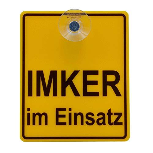 Saugnapfschild Schild IMKER im Einsatz 100x120mm für Auto Scheiben Innenbefestigung
