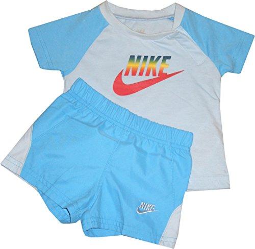 Nike - Conjunto de camiseta y pantalón corto (100% algodón, 3-6 meses, 62-68 cm)