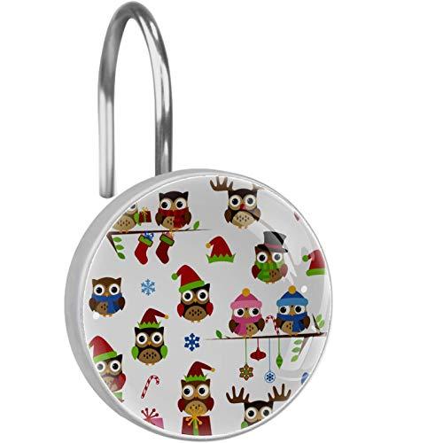YATELI Ganchos para Cortinas de Ducha - Vector Collection of Christmas Themed Owls - Juego de 12 Anillos de Ducha para Barra de Cortina de Ducha para baño - 100% a Prueba de Herrumbre