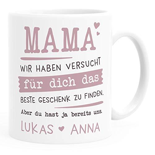 SpecialMe® Tasse personalisiertes Geschenk Spruch Papa/Mama/Oma/Opa Wir habe versucht für dich das beste Geschenk zu finden. anpassbare Namen Mama - 2+ Namen weiß Keramik-Tasse