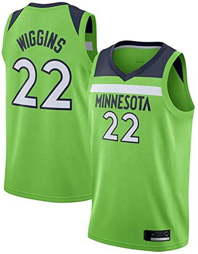 BMSGM NBA Hombres Jerseys-NBA Minnesota Timberwolves NBA # 22 Andrew Wiggins Camiseta De Baloncesto Sin Mangas Camiseta Deportiva, Malla De Tela Transpirable,A,L(175~180CM/75~85KG)