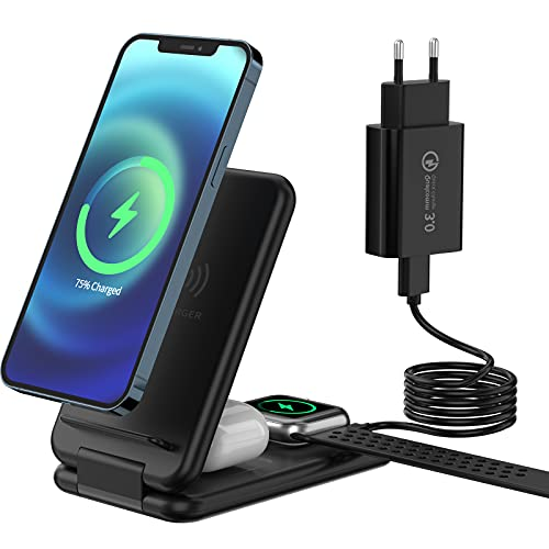 Estación de carga inalámbrica plegable 3 en 1, cargador inalámbrico compatible con iPhone 12/11/Pro Max/XR/XS, iWatch 6/5/4/3/2/1, base de carga para Samsung Galaxy S21 S20 S20 + S10, Air Pods