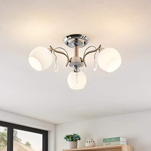 Lindby Deckenlampe 'Feodora' in Chrom aus Glas u.a. für Wohnzimmer & Esszimmer (3 flammig, E14, A++) - Deckenleuchte, Lampe, Wohnzimmerlampe