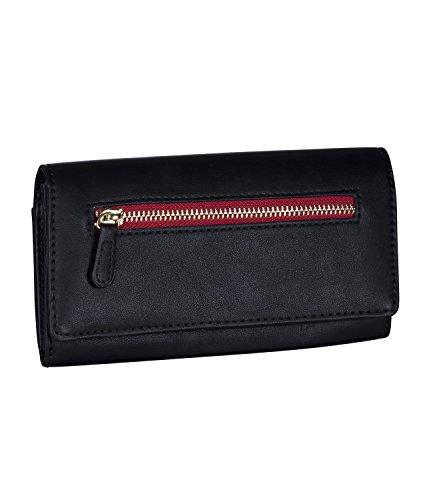 SIX Großes Portemonnaie Geldbeutel Geldbörse Kellnerportemonnaie, schwarz mit roten Details, 19x10,5x3 (BxHxT) (703-209)