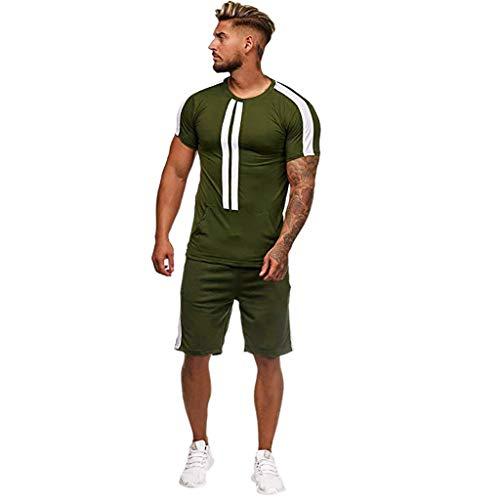 URIBAKY Mens Summer Leisure Stripe Color Collision à Manches Courtes Shorts Sports Ensembles Minces
