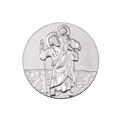 Fritz Cox® Christopherus Auto Magnet Silber ohne Rand, selbstklebend und leicht angebracht, mit persönlicher Geschenkkarte