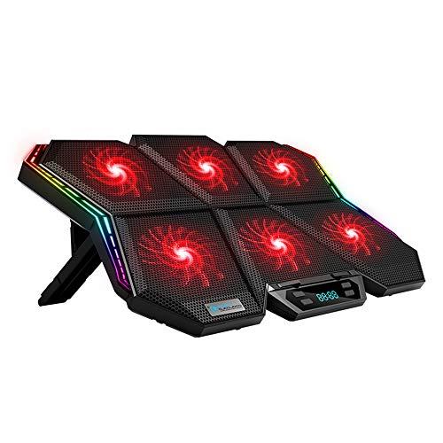 Flytise Enfriador, Enfriador de portátil K40 RGB, Soporte de refrigeración de 6 Ventiladores, diseño silencioso con Velocidad de Viento Ajustable, Altura del Soporte, Efecto de luz Colorida