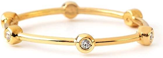 Elegant jewel box Women 6 Bezel diamond ring in solid Gold 9k, 14k, & 18k, Dainty diamond ring with 6 tiny bezels, Gold...