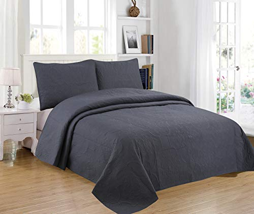 Sapphire Home 3-Piece King/Cal-King Oversize Bedspread Coverlet Bedding Set w/2 Shams, Soft Touch, Solid, Stylish Embossed Pattern, All-Season Comforter Bed Cover, Emma King Gray Charcoal
