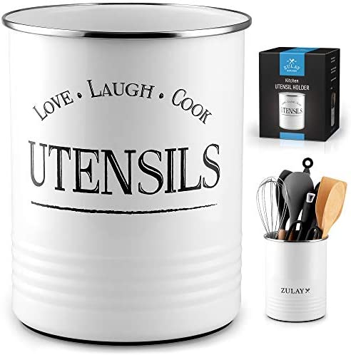 Zulay Large Utensil Crock Storage Organizer Kitchen Utensil Holder For Countertop With Padded product image