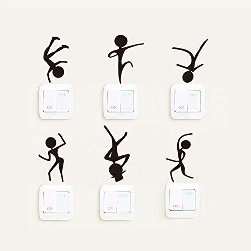 Behang Creative Dance Action Slaapkamer Studie Woonkamer Slaapkamer Kantoor Zwart Schakelaar Sticker