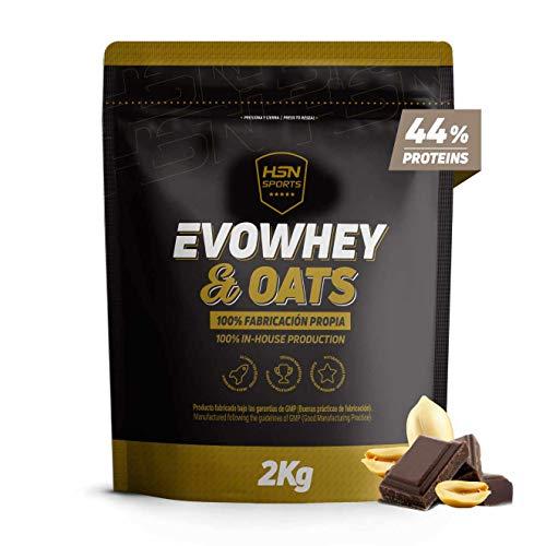 Evowhey & Oats de HSN Sports | Proteína Whey Harina de Avena | Ideal para Desayunos o Meriendas | Bajo en Azúcar, Apto Vegetarianos, Sin Soja, Sabor Chocolate y Cacahuete, 2000g