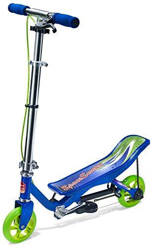 Space Scooter X360 Blu, Monopattino Junior a Pedana Basculante con Freni, Sospensione ad Aria e Sistema di Chiusura Facile, per Bambini 4+