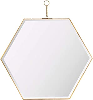 Qing MEI Nordic Golden Brass Hexagonal Mirror, Modern Background Wall Porch Wall Hanging Decoration Vanity Mirror (Size: 22 X44CM)