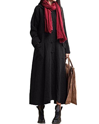 Romacci Damen Weinlese Kleid mit Kapuze Langes Hülsen-beiläufiges Loses Festes Baumwollkleid, Schwarz, 5X-Large