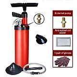 LOHOX Desatascador de Desagües de Alta Presión Limpieza Multifuncional Bomba de Drenaje Profesional de Aire Comprimido Limpiador Rápido y Eficaz de Tuberías para Cocina, BañO (Rojo)
