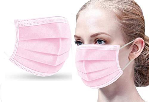Cosanter 50Pcs Adulto Borsa Protettiva monouso Tre Strati Protezione per Il Viso Antipolvere Traspirante e Confortevole Rosa