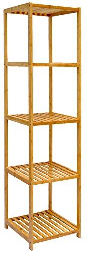 DuneDesign XL Bambus Holz Regal 162,5 x 38 x 39,5 cm 5 Fächer Stand-Regal Badezimmer Ablage Küchen...