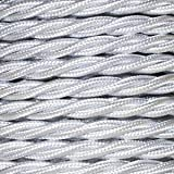 Cable eléctrico Vintage trenzado en PVC. Bobina de 5 metros de 2 núcleos x 0,75 mm de sección en color Perla
