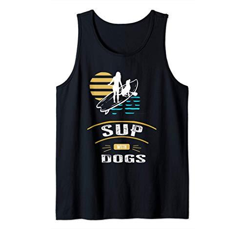 Chica De SUP Con Perro Haciendo La Paleta De Deportes Camiseta sin Mangas