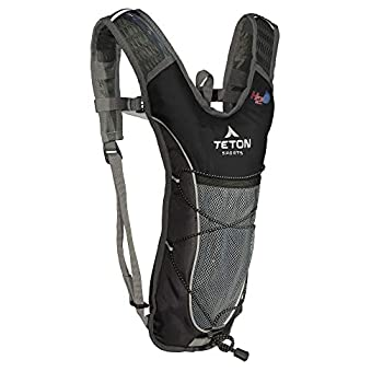 TETON Sports TrailRunner 2.0 Hydration Pack  Backpack for Hiking Running and Cycling  Free 2-Liter Hydration Bladder  Black 16.5-Inch x 10.5-Inch x .7-Inch