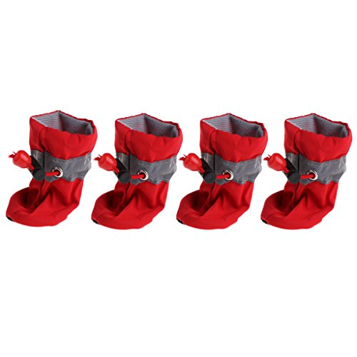 Yoli 4pcs Stiefel Hunde Schuh Hund Katze Wasserdicht Gummistiefel, mit rutschfesten Einlegesohlen