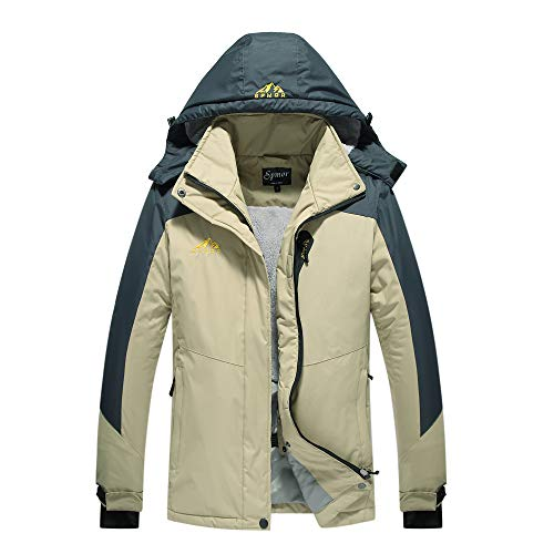 Spmor Damen Skijacke Fleece Jacke Mountain Regenmantel Winddicht Haut Kapuzenjacke - Khaki - Groß