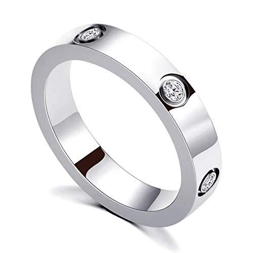 PDWZNBA Anillo de la amistad de amor chapado en oro de 18 quilates con circonita cúbica de acero inoxidable, anillo de promesa de boda, regalo de cumpleaños para mujeres adolescentes y niñas plateado
